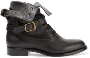 Chloé Otto Leather Biker Boots - Black