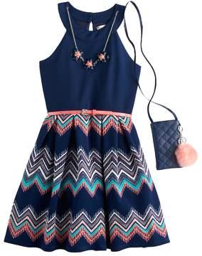 Knitworks Girls 7-16 & Plus Size Chevron Skirt Skater Dress with Necklace & Crossbody Purse