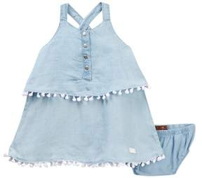 7 For All Mankind Tiered Pompom Dress & Bloomers (Baby Girls)