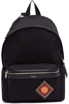 Saint Laurent Black Pocket Patch City Backpack