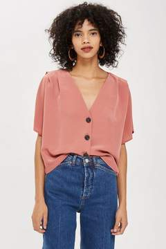 Topshop Pleat Sleeve Top