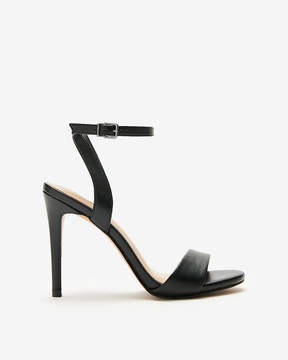 Express Solid Asymmetrical Strap Heeled Sandals