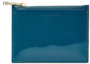 Aspinal of London Small Essential Flat Pouch In Peacock Pearl Patent
