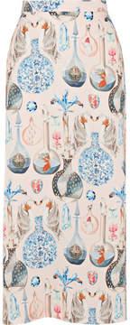 Temperley London Love Potion Printed Satin Midi Skirt - Cream