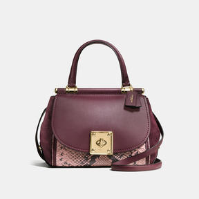 COACH Coach Drifter Top Handle Satchel In Colorblock Exotic Embossed Leather - LIGHT GOLD/OXBLOOD MULTI - STYLE