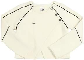 Karl Lagerfeld Embossed Cotton Interlock Sweatshirt