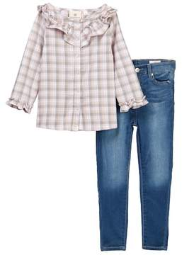 AG Jeans 2-Piece Plaid Woven Top & Jeans (Toddler Girls)