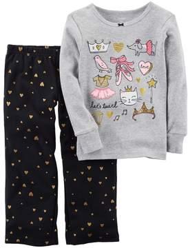Carter's Toddler Girl Foil Ballet Graphics Top & Glitter Heart Bottoms Pajama Set