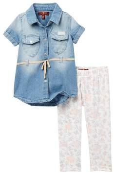 7 For All Mankind Denim Dress & Leggings Set (Baby Girls)