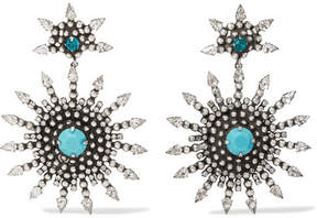 Dannijo Delano Oxidized Silver-plated, Swarovski Crystal And Turquoise Earrings