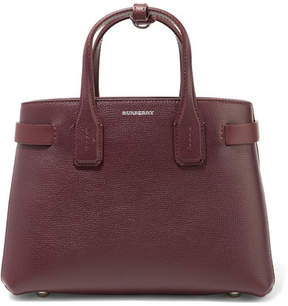 Burberry Textured-leather And Checked Canvas Tote - Burgundy