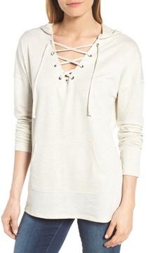 Caslon Women's Lace-Up Hooded Sweatshirt