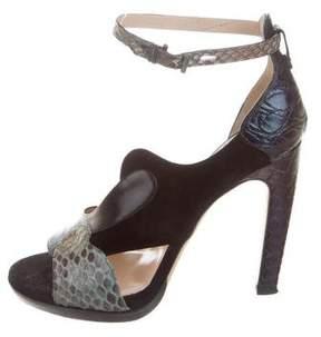 Reed Krakoff Suede Snakeskin-Trimmed Sandals