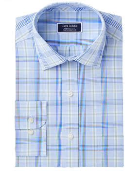 Club Room Club Romm Men's Classic/Regular Fit Stretch Fine Line Glenplaid Dress Shirt, Created for Macy's