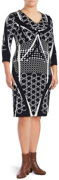 Basler Women's Printed V-Neck Sheath Dress