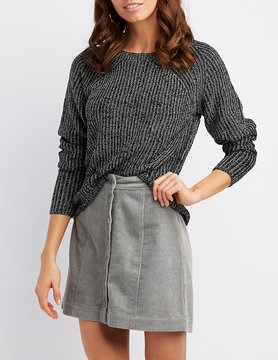 Charlotte Russe Shaker Stitch High-Low Sweater