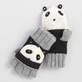World Market Gray and Black Panda Convertible Gloves