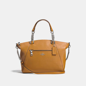 COACH Coach Chain Prairie Satchel In Polished Pebble Leather - SILVER/LIGHT SADDLE - STYLE