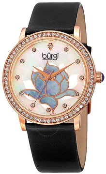 Burgi Mother Of Pearl Dial Ladies Black Leather Watch