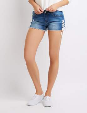 Charlotte Russe Lace-Up Denim Mid-Rise Shorts