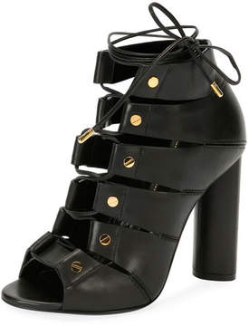 Tom Ford Lace-Up Leather Open-Toe 105mm Bootie, Black