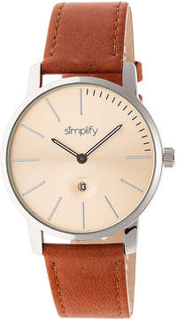 Simplify Camel & Silver The 4700 Leather-Strap Watch - Unisex