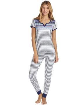 Cuddl Duds Women's Weekend Getaway Short Sleeve Top & Jogger Pants Pajama Set