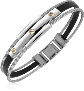Forzieri Men's Stainless Steel and Rubber Screws Bracelet
