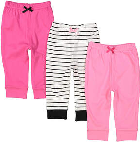 Luvable Friends Pink & White Three-Piece Jogger Set - Infant