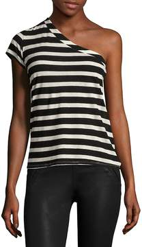RtA Women's Anaisone One-Shoulder Tee - Black-white, Size s