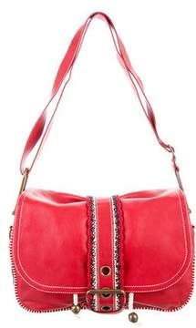 Marc Jacobs Leather & Crochet Messenger Bag - RED - STYLE
