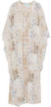 Melissa Odabash Lace-Up Snake-Print Silk Crepe De Chine Kaftan