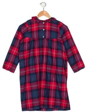 Papo d'Anjo Girls' Plaid Long Sleeve Nightgown