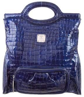 MCM Embossed Top Handle Bag