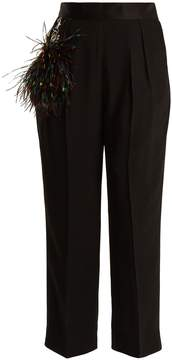 Christopher Kane Wide-leg feather-trimmed trousers