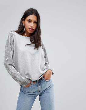 Blend She Venice Sweat with Crushed Velvet Sleeves