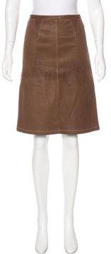 Bottega Veneta Leather A-Line Skirt