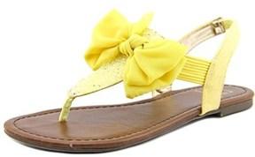Material Girl Swan Women Open Toe Canvas Yellow Thong Sandal.
