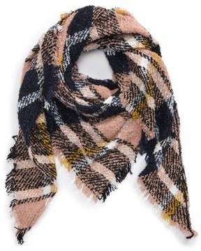 BP Women's Boucle Plaid Triangle Scarf