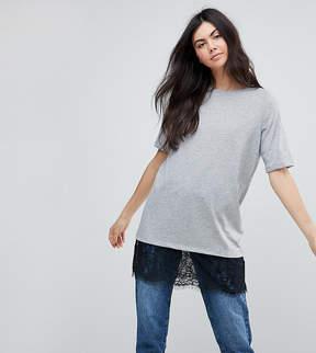 Noisy May Tall T-Shirt With Lace Hem