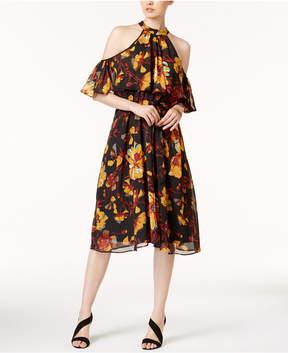 ECI Mock-Neck Cold-Shoulder Dress