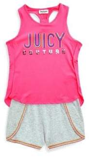 Juicy Couture Girl's Two-Piece Hi-Lo Top and Shorts Set