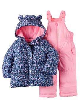 Carter's Infant Girls 2 Pc Snow Bibs & Winter Coat Set Blue Floral Snowsuit 12m