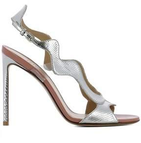 Francesco Russo Women's Silver Leather Heels.