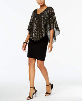 Connected Metallic-Floral Chiffon Cape Dress