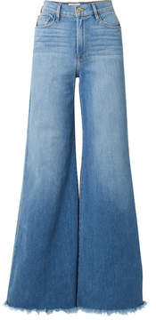 Frame Le Palazzo Frayed High-rise Wide-leg Jeans - Mid denim