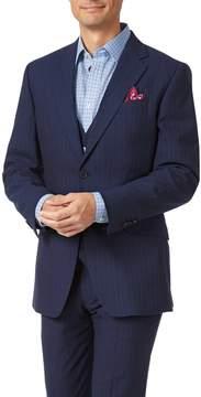 Charles Tyrwhitt Navy Slim Fit Panama Stripe Business Suit Wool Jacket Size 40