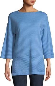 Neiman Marcus Cashmere Open-Weave Sweater Tunic