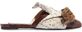 N°21 N° 21 Knotted Snake-Effect Leather Slippers