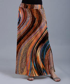 Lily Rust & Black Waves Maxi Skirt - Women & Plus